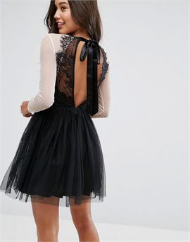 PREMIUM Sheer Top Tulle Mini Prom Dress