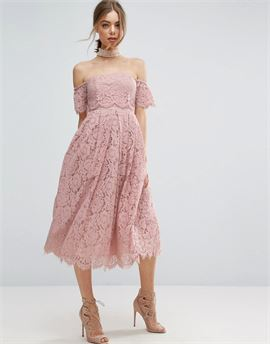 Off the Shoulder Lace Prom Midi Dress