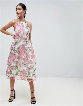 Pinny Prom Midi Dress In Floral Lace