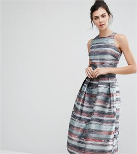 Full Prom Skater Dress In Stripe Jacquard