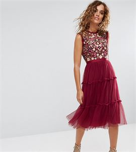 High Neck Midi Tulle Dress with Embroidery and Embellishment