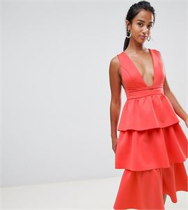 ASOS DESIGN Petite Tiered Prom Midi Dress