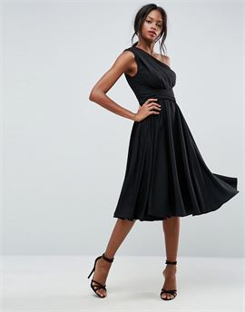 One Shoulder Tie Waist Midi Prom Dress