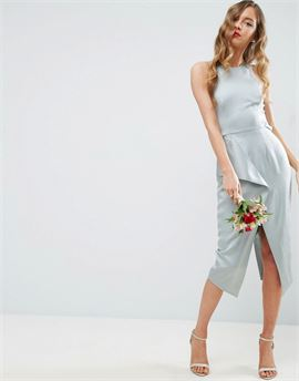 WEDDING Cami Drape Back Pencil Midi Dress