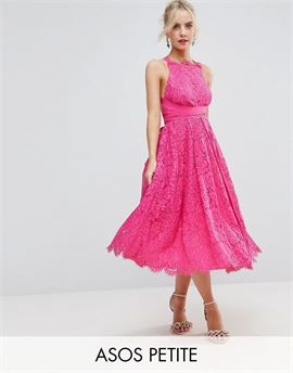 SALON Lace Halter Pinny Midi Prom Dress