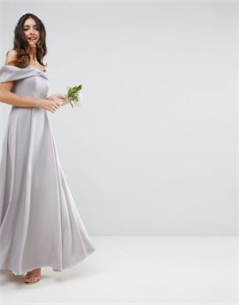 WEDDING Bow Front Soft Maxi Prom Dress