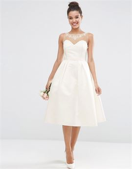 BRIDAL Crystal Sweetheart Midi Prom Dress
