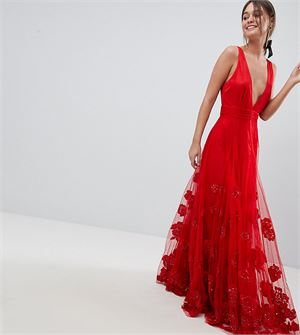 Maxi Prom Dress with Embellishment and Embroidery