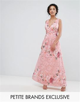 Wrap Front Detail Prom Dress In All Over Floral Printed Lace
