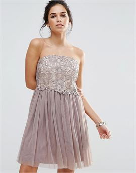 Lace Overlay Bandeau Prom Dress
