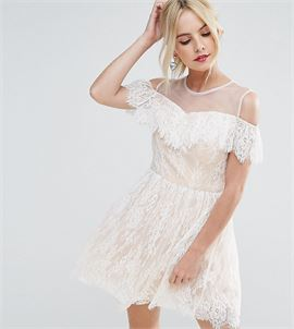Allover Lace Cold Shoulder Mini Prom Dress