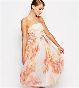 Tulle Prom Midi Dress In Autumn Floral Print