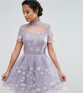 918880b5af4 Mesh High Neck Mini Prom Skater Dress With Floral Metallic Embroidery