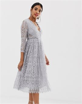 long sleeve lace midi prom dress