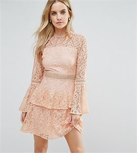 All Over Premium Lace Top Tiered Prom Mini Dress