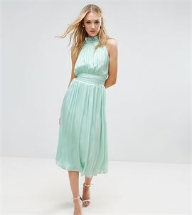 Ruched Pleated Midi Prom Skater Dress