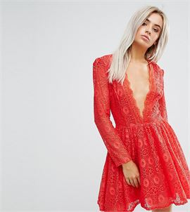 Allover Geo Lace Full Prom Skater Dress With Plunge Front