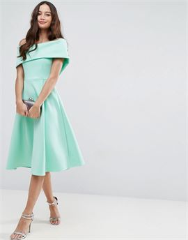 Scuba Bardot Midi Prom Dress