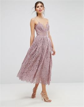 Lace Cami Midi Prom Dress