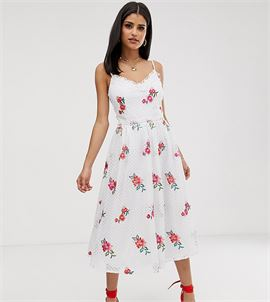 Full Prom Skater Dress In Rose Embroidery