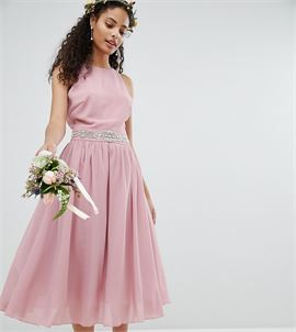 Embellished Midi Bridesmaid Dress with Full prom skirt