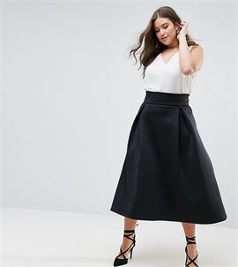 High Waisted Scuba Midaxi Prom Skirt