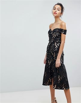 All Over Cutwork Lace Bardot Midi Prom Dress With Ruffle Hem