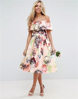 WEDDING Print Structured Prom Midi Dress