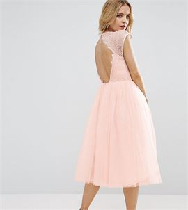 PREMIUM Lace Tulle Midi Prom Dress