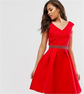 Bardot Prom Dress With Lace Top And Embellished Waist