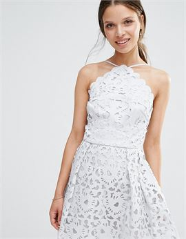 High Neck Cutwork Midi Prom Dress