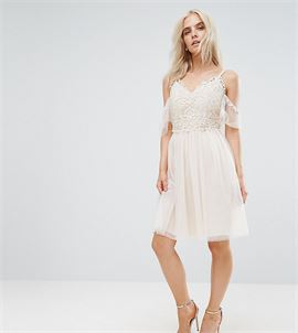 Cold Shoulder Lace Top Mini Prom Skater Dress