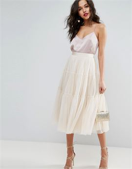 Tiered Tulle Prom Skirt with High Waisted Detail