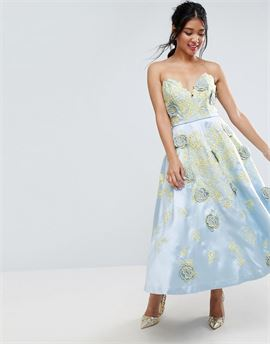 SALON Contrast Embroidered Floral Prom Midi Dress