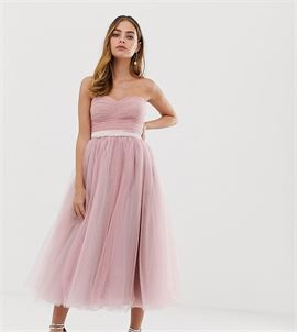 bandeau full prom midaxi dress in pink