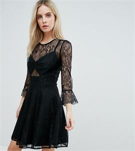Lace Top Prom Skater Dress With Bra Top Detail