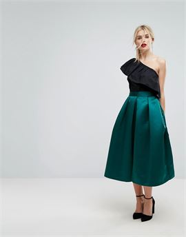 Full Prom Sateen Midi Skirt