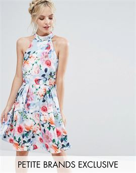 Floral Printed High Neck Prom Dress