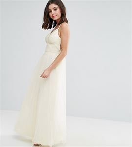 Strappy Corset Top Maxi Tulle Prom Dress