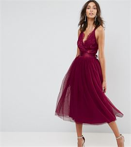 PREMIUM Lace Top Tulle Midi Prom Dress with Ribbon Ties