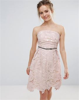 Lace Prom Belted Dress