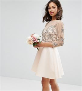 Allover Embellished Mini Prom Skater Dress