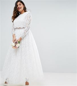 BRIDAL Lace Long Sleeve Maxi Prom Dress