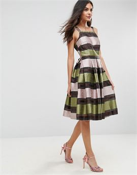 Stripe Midi Prom Dress