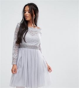 Off Shoulder Lace Top Mini Prom Skater Dresss