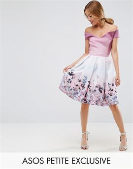 SALON Off Shoulder Prom Dress in Placement Floral Print