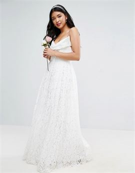 BRIDAL Lace Bow Front Maxi Prom Dress