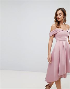 Bardot Cold Shoulder Dip Back Midi Prom Dress