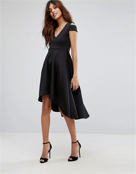 Skater Prom Midi Dress With Hi Lo Hem