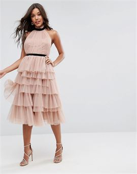 PREMIUM High Neck Tiered Tulle Midi Prom Dress